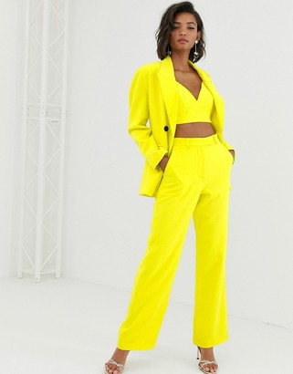 Asos Edition EDITION high waist mansy suit pants-Yellow