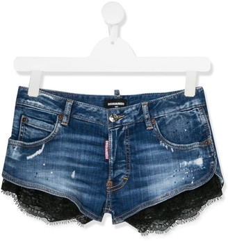 DSQUARED2 TEEN lace trim denim shorts