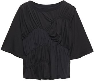 Carven Gathered Jersey-paneled Tencel-blend Crepe De Chine Top