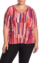 Bobeau V-Neck Smocked Sleeve Top (Plus Size)