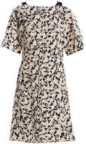 Proenza Schouler Floral-print Cross-over Silk Dress - Womens - Black Pink