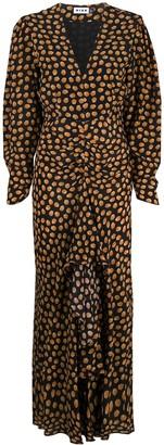 Rixo Polka-Dot Silk Dress