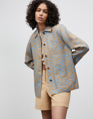 Lafayette 148 New York Plus-Size Amaris Jacket In Zevron Print Linen