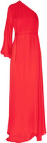 Rosetta Getty One-sleeve silk-chiffon wrap gown
