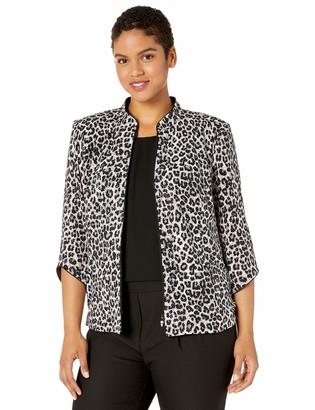 Alex Evenings Women's Plus Size Printed Zip Jacket with Peplum Hem