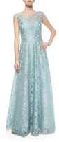Phoebe Couture Lace Cap-Sleeve Gown, Teal