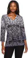 Ruby Rd. Women's 3/4 Sleeve Printed Knit Top with Tassels
