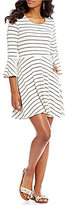 Copper Key Striped Bell Sleeve Fit-and-Flare Knit Dress