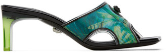 Versace Green and Blue Hologram Jungle Print Mules