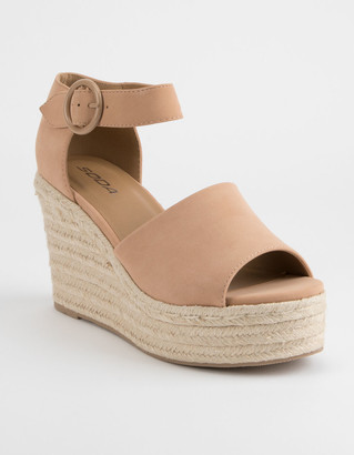 Soda Sunglasses Ankle Strap Nude Womens Espadrille Wedges