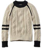 L.L. Bean Signature Cotton Fisherman Sweater, Colorblock
