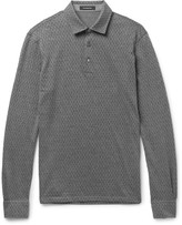 Ermenegildo Zegna Slim-Fit Herringbone Cotton and Wool-Blend Polo Shirt