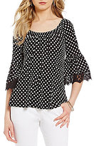 Bobeau Petites Polka Dot Print Bell Lace Sleeve Knit Top