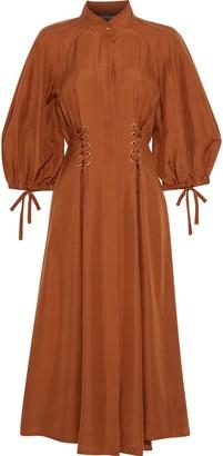 Zimmermann Tempest Lace-up Silk-shantung Midi Dress