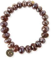 Sydney Evan 8mm Faceted Brown Silverite Beaded Bracelet with 14k Diamond Evil Eye Disc Charm