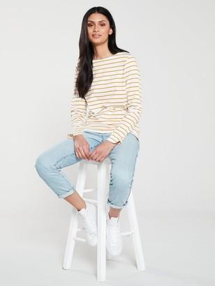 Very Stripe Cotton Long Sleeve Top - Cream Mustard