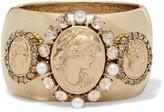 Oscar de la Renta Gold-tone crystal and faux pearl bangle
