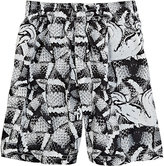 Marcelo Burlon County of Milan SNAKE-PRINT SHORTS-BLACK SIZE 10