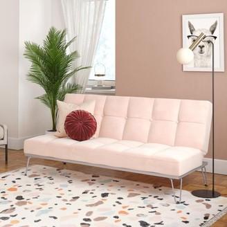 Novogratz Elle Futon, Convertible Sofa Bed and Couch, Pink Velvet