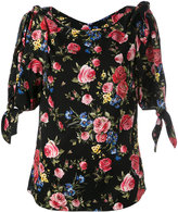 Dolce & Gabbana floral blouse with double tie-sleeves - women - Silk/Spandex/Elastane - 40