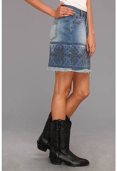Stetson Denim Skirt With Raw Edge Embellished Front Back