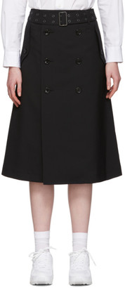 Junya Watanabe Black Tropical Wool Trench Skirt