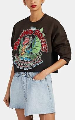 "MadeWorn Women's ""Rolling Stones"" Cotton-Blend Crop Sweatshirt - Black"