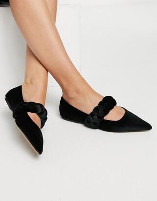 ASOS DESIGN Liberty plaited mary jane pointed ballet flats in black velvet