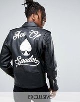 Reclaimed Vintage Inspired Leather Jacket With Back Print And Charm