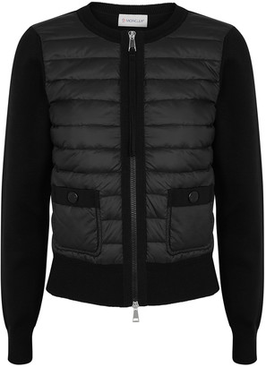Moncler Black Quilted Shell And Wool Jacket