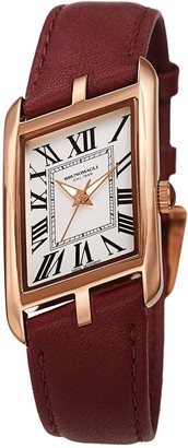 Bruno Magli Women's Sofia 1421 Asymmetrical Case Leather Strap Watch, 24mm