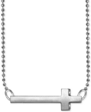 Alex Woo Side Cross Beaded Pendant Necklace in Sterling Silver