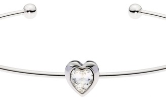 Ted Baker Ladies Silver Plated Crystal Heart Ultrafine Cuff Bangle TBJ1682-01-02
