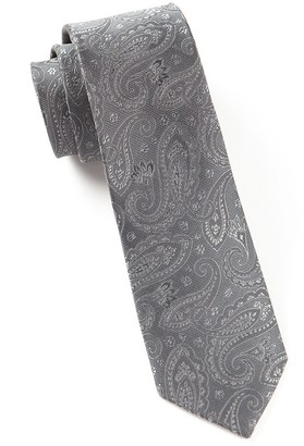 Tie Bar Platform Paisley Charcoal Tie