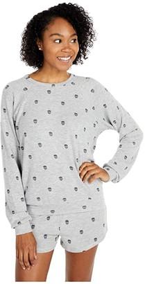 PJ Salvage Minimalist Skull Sweatshirt (Heather Grey) Women's Clothing