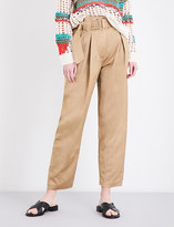 Sandro Wide-leg cropped linen trousers