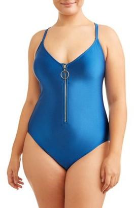 No Boundaries Junior Plus Rib Zip Front One Piece Swimsuit