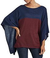 Lauren Ralph Lauren Color-Blocked Silk-Blend Poncho