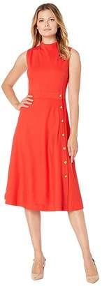 Lauren Ralph Lauren Button-Trim Ponte Dress (Sporting Orange) Women's Dress