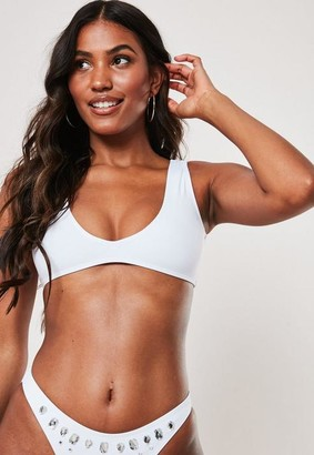 Missguided White Super Scoop Bikini Top