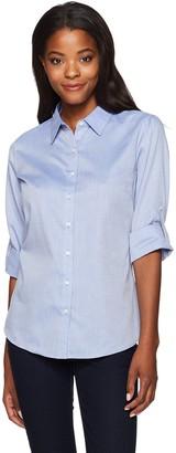Cutter & Buck Women's Epic Easy Care Long Sleeve Mini Herringbone Collared Shirt