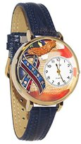 Whimsical Watches Women's G1220035 Unisex Gold American Patriotic Navy Blue Leather And Goldtone Watch