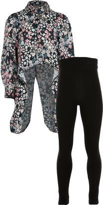 River Island Girls Black floral dip hem shirt outfit