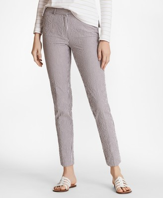 Brooks Brothers Stretch-Cotton Seersucker Ankle Pants