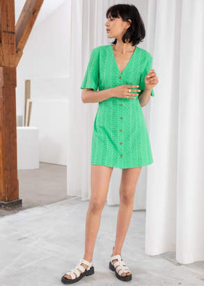 And other stories Cotton Dobby Button Up Mini Dress