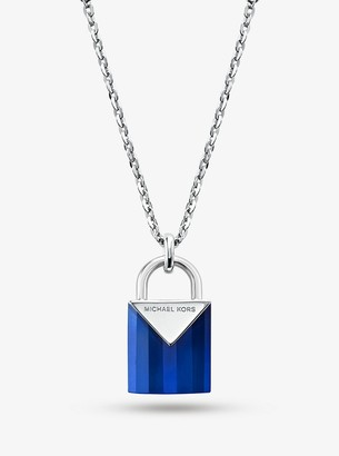 Michael Kors Sterling Silver Lock Necklace