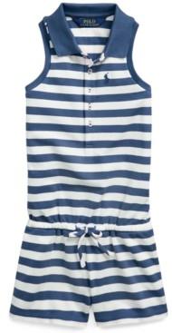 Polo Ralph Lauren Little Girls Striped Mesh Polo Romper