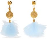 Aurelie Bidermann Cités D'or Gold-plated Feather Clip Earrings - Light blue