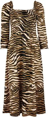 Dorothy Perkins Womens Multi Colour Cheetah Shirred Long Sleeve Midi Skater Dress