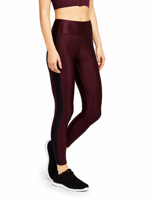 Aurique Amazon Brand Women's High Shine With Printed Side Stripe Sports Leggings